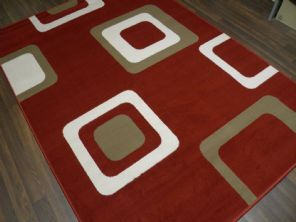 Modern Approx 8x5 160x230cm Woven Backed Squares Quality Rugs Red/Beiges/cream